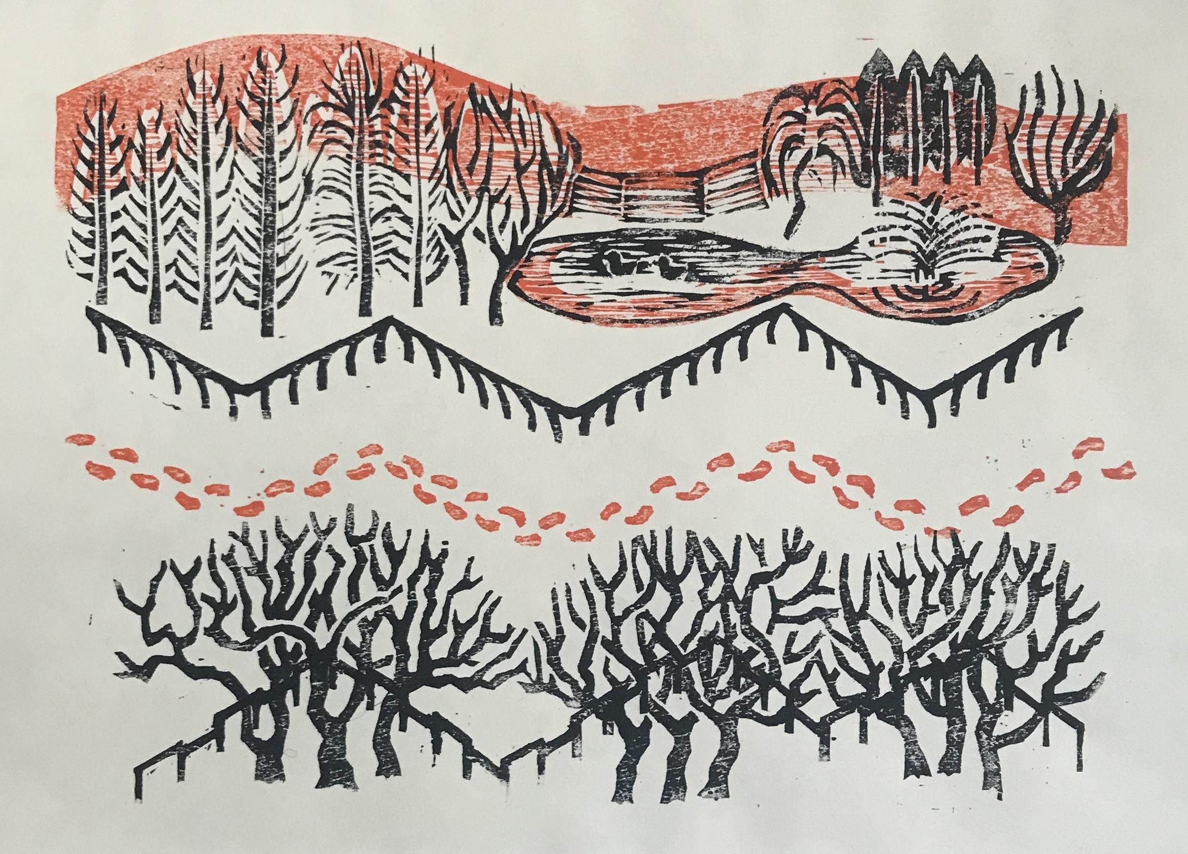 「冬の公園を歩く」竹森夏子(木版画)