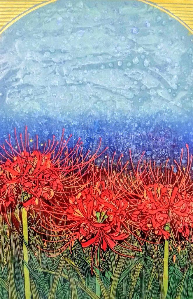 「白雲の彼岸花」木版画